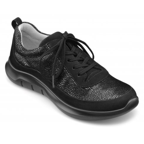Hotter Star Black Multi Std Fit Nubuck/Suede Trainer Style Shoe