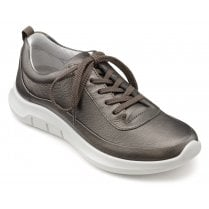 Star Dark Pewter Std Fit Leather Trainer Style Shoe