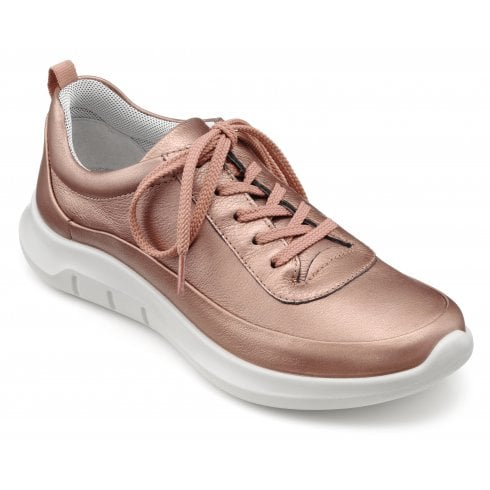 Hotter Star Dark Rose Metallic Std Fit Leather Trainer Style Shoe