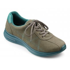 Stone/khaki flat lace up trainer style shoe