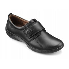 Sugar Wide Fit Black Leather Flat Velcro Fasten Shoe