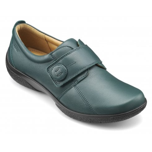 Hotter Sugar Wide Fit Deep Teal Leather Flat Velcro Fasten Shoe