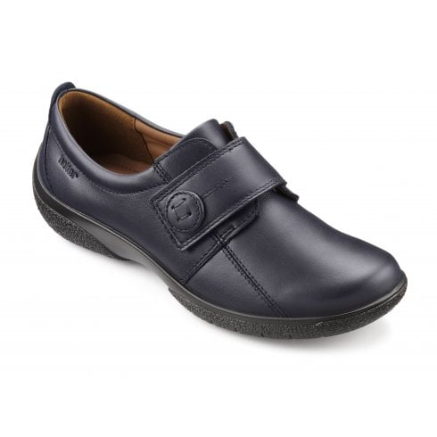 Hotter Sugar Wide Fit Navy Leather Flat Velcro Fasten Shoe