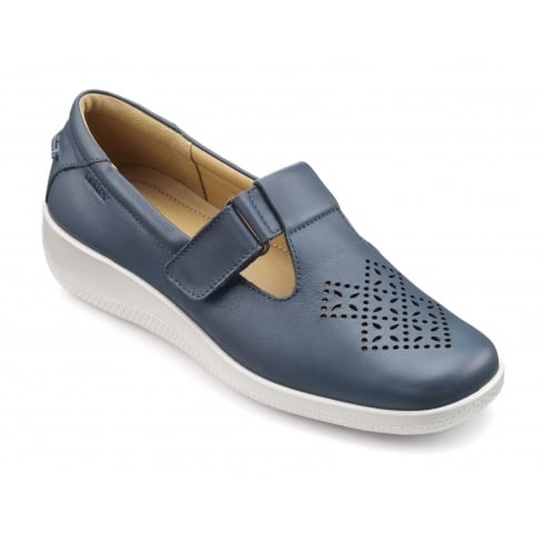 Hotter Sunset Blue River Leather Flat T-bar Strap Shoe