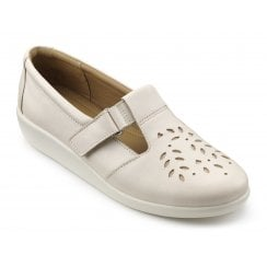 Sunset Soft Beige Wide Fit Leather Flat Velcro Fasten Shoe