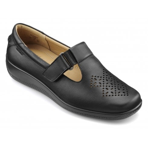 Hotter Sunset Wide Fit Black Leather Flat Velcro Strap Shoe