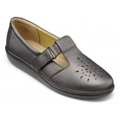 Sunset Wide Fit Dark Pewter Leather Flat Velcro Strap Shoe