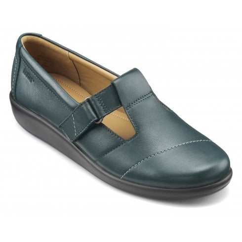 Hotter Sunset Wide Fit Deep Teal Leather Flat Velcro Strap Shoe