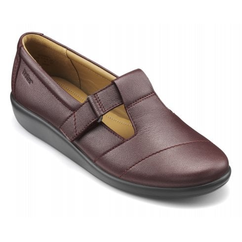 Hotter Sunset Wide Fit Maroon Metallic Leather Flat Velcro Strap Shoe