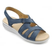 Susa Blue River Leather Flat Slingback Sandal