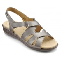 Susa Nickel Metallic Leather Flat Slingback Sandal