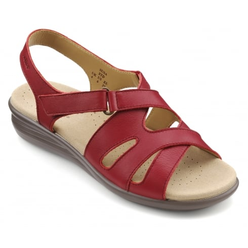 Hotter Susa Tango Red Leather Flat Slingback Sandal