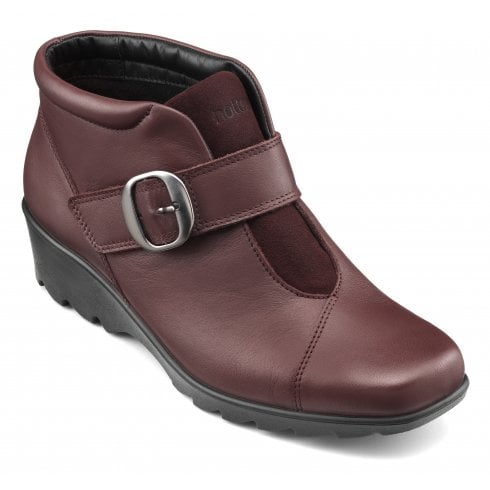 Hotter Tamara Std Fit Maroon Leather Heeled Wedge Ankle Boot