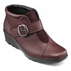 Tamara Std Fit Maroon Leather Heeled Wedge Ankle Boot