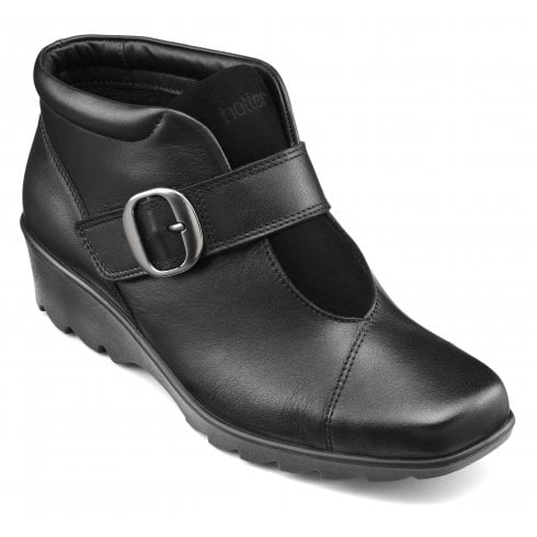 Hotter Tamara Wide Fit Black Leather Heeled Wedge Ankle Boot