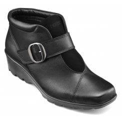 Tamara Wide Fit Black Leather Heeled Wedge Ankle Boot