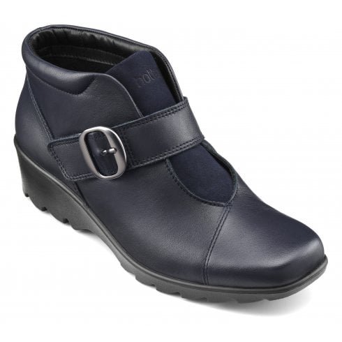 Hotter Tamara Wide Fit Navy Leather Heeled Wedge Ankle Boot