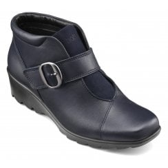 Tamara Wide Fit Navy Leather Heeled Wedge Ankle Boot