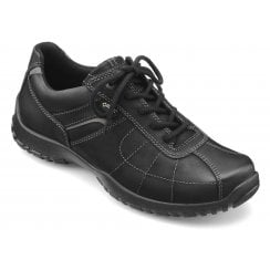 Thor Std Fit Jet Black Gore-Tex Waxed Nubuck Flat Lace Up Shoe