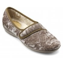 Thyme Std Fit Soft Gold Velvet Velcro Fasten Slipper