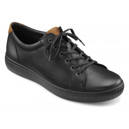 Hotter Tobago Std Fit Black Leather Lace Up Casual Shoe
