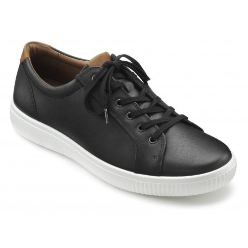 Hotter Tobago Std Fit Jet Black Leather Lace Up Casual Shoe