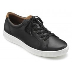 Tobago Std Fit Jet Black Leather Lace Up Casual Shoe