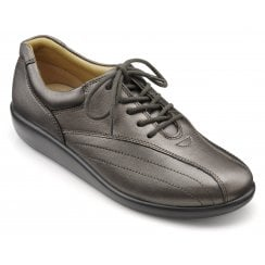 Tone Dark Pewter Std Fit Leather Flat Lace Up Shoe