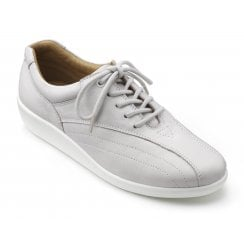 Tone Polar White Std Fit Leather Flat Lace Up Shoe