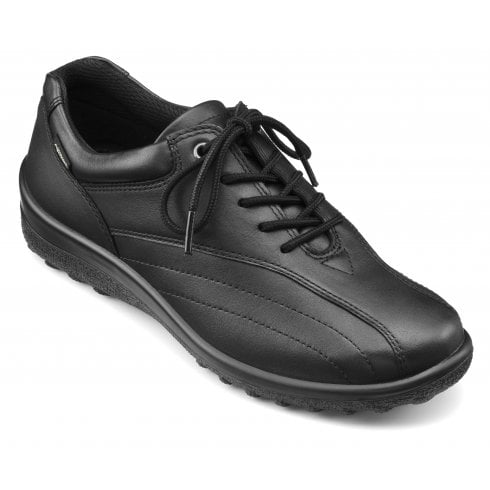 Hotter Tone Std Fit Black Gore-Tex Leather Flat Lace Up Shoe