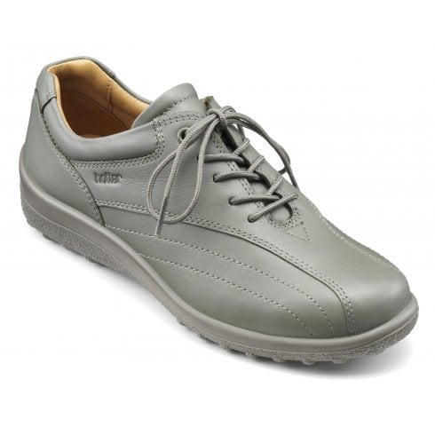 Hotter Tone Std Fit Duck Egg Leather Flat Lace Up Shoe