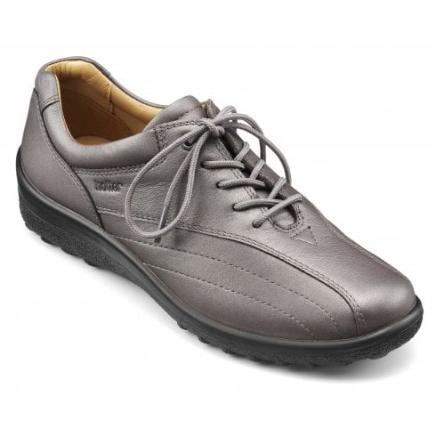 Hotter Tone Std Fit Gunmetal Leather Flat Lace Up Shoe