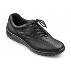 Tone Wide Fit Black Leather Flat Lace Up Shoe