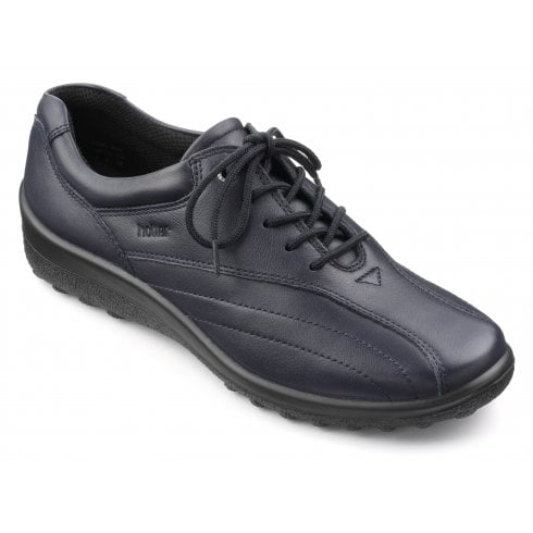 Hotter Tone Wide Fit Navy Leather Flat Lace Up Shoe