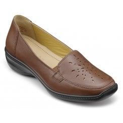 Topaz Dark Tan Wide Fit Flat Leather Slip On Shoe
