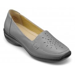 Topaz Urban Grey Std Fit Flat Leather Slip On Shoe