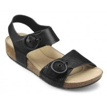 Tourist Black Multi Std Fit Leather Flat Buckle Sandal