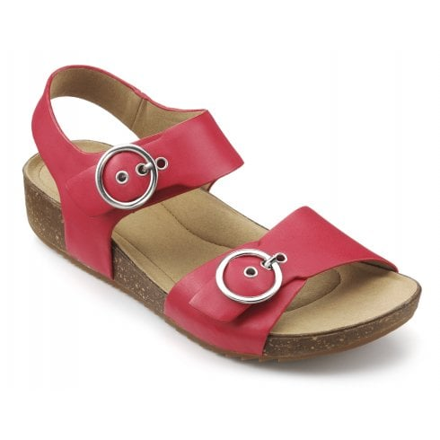 Hotter Tourist Coral Std Fit Leather Flat Buckle Sandal