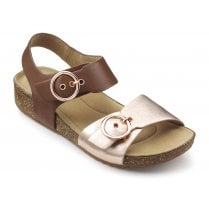 Tourist Dark Tan/Rose gold Std Fit Leather Flat Buckle Sandal