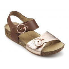 Tourist Dark Tan/Rose Gold Wide Fit Leather Flat Buckle Sandal