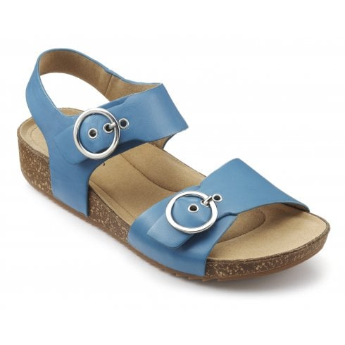 Hotter Tourist French Blue Std Fit Leather Flat Buckle Sandal