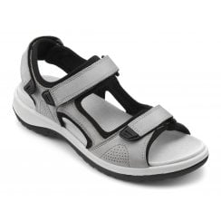 Travel Pebble Grey Wide Fit Flat Twin Velcro Sandal
