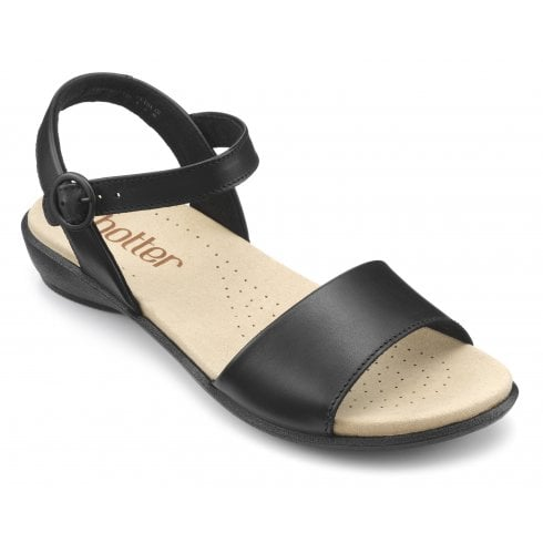 Hotter Tropic Black Std Fit Leather Flat Buckle Sandal