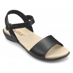 Tropic Black Wide Fit Leather Flat Buckle Sandal