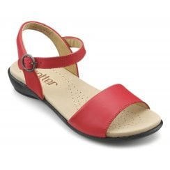 Tropic Blood Orange Std Fit Leather Flat Buckle Sandal