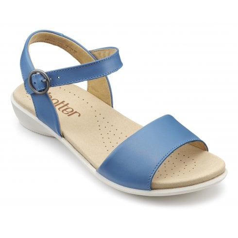 Hotter Tropic French Blue Wide Fit Leather Flat Buckle Sandal