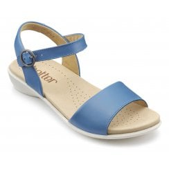 Tropic French Blue Wide Fit Leather Flat Buckle Sandal