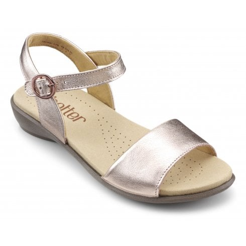 Hotter Tropic Rose Gold Wide Fit Leather Flat Buckle Sandal