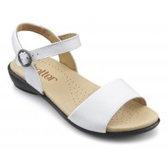 Tropic White Wide Fit Leather Flat Buckle Sandal