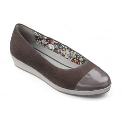 Truffle suede/patent Low Wedge Slip On Shoe